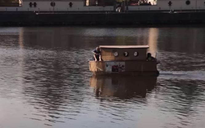 cardboard houseboat